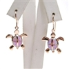 Silver Earrings Rose Gold Plated w/ Inlay Created Opal
