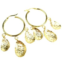 Silver Earring (Gold Plated) w/ Semi-Precious Stone