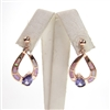 Silver Earring (Rose Gold Plated) with Inlay Created Opal and Tanzanite CZ