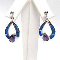 Silver Earring W/ Inlay Created Opal & Tanzanite CZ