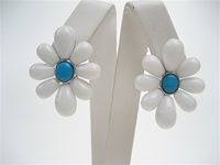 Silver Earring w/ Inlay Created White & Turquoise