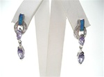 Silver Earrings W/ Inlay Created Opal and Tanzanite CZ