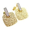 Silver Earring w/ White CZ (Gold Plated)