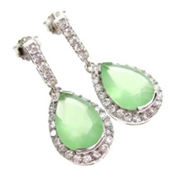 Silver Earring (Rhodium Plated w/ Wht and Jade CZ.