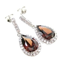 Silver Earrings (Rhodium Plated) w/Wht and Smky Topaz CZ.