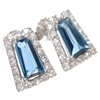 Silver Earrings (Rhodium Plated) w/ Wht  CZ and Sapphire Crystal.