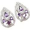Silver Earrings w/ White and Amethyst CZ