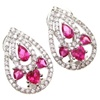 Silver Earrings (Rhodium Plated) w/ White and Ruby CZ