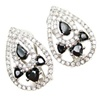 Silver Earrings (Rhodium Plated) w/ White and Onyx CZ