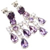 Silver Earrings (Rhodium Plated) w/ White and Amethyst CZ