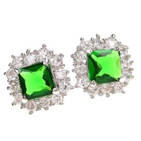 Silver Earrings (Rhodium Plated) w/ White & Emerald Color CZ