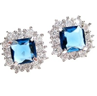 Silver Earrings (Rhodium Plated) w/ White & Sapphire Color CZ