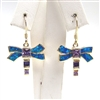Silver Earring (Gold Plated) w/ Inlay Created Opal & Tanzanite CZ
