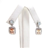 Silver Earrings with Inlay Created Opal & Champagne CZ