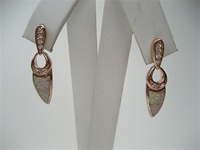 Silver Earrings (Rose Gold Plated) W/ Inlay Created Opal and White CZ