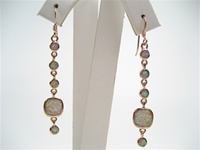 Silver Earrings (Rose Gold Plated) w/ Inlay Created Opal