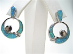 Sterling Silver Earring w/ Inlay Created Opal & Smoky Topaz CZ