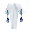 Silver Earring with Inlay Created Opal and Tanzanite CZ