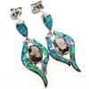 Silver Earrings w/ Inlay Created Opal & Smoky Topaz CZ