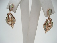 Silver Earrings (Rose Gold Plated) w/ Inlay Created Opal & Champagne CZ