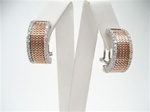 Silver Earrings (Rose Gold Plated & Rhodium Plated) W/ White CZ