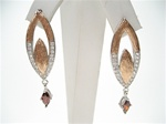 Silver Earrings (Rose Gold Plated) W/ White and Garnet CZ