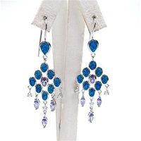Silver Earring with Inlay Created Opal, White and Tanzanite CZ