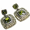 Silver Earring w/ Lt. Olive and peridot CZ