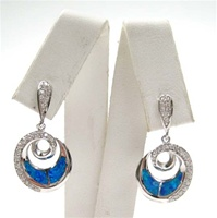 Silver Earrings w/ Inlay Created Opal & White CZ