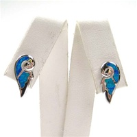 Silver Earrings w/ Inlay Created Opal (Wing)