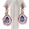 Silver Earring (Rose Gold Plated) with Inlay Created Opal, White and Tanzanite CZ