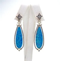 Silver Earring (Gold Plated) with Created Opal and White Cz