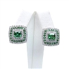 Silver Earring with White and Emerald CZ
