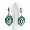 Silver Earring with White CZ and Dark Aventurine