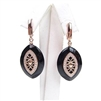 Silver Earrings (Rose Gold Plated) with White CZ and Black Agate