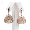 Silver Earring (Rose Gold Plated) with White and Grey Agate
