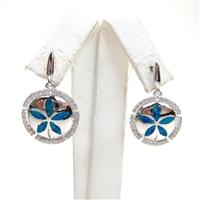 Silver Earring with Inlay Created Opal & White CZ