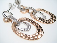 Silver Earrings (Rose Gold Plated) W/ White CZ