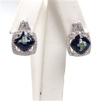 925 Sterling Silver Earrings with Blue Mystic Quartz and White CZ
