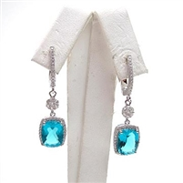 Sterling Silver Earrings with London Blue Mystic Quartz and White CZ