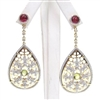 Silver Earring (Gold Plated) with White, Ruby & Peridot CZ