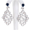 Silver Earring w/ White, Light Champagne & Sapphire CZ