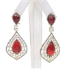 Silver Earring (Gold Plated) with Red Agate & White CZ