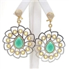 Silver Earring (Gold Plated) with White, Citrine & Green Agate Color CZ