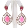 Silver Earring (Rose Gold Plated) with White and Ruby CZ