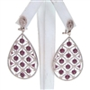 Silver Earring (Rose Gold Plated) with White & Ruby CZ