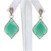 Silver Earring (Gold Plated) with Green Agate & White CZ