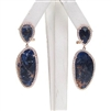 Silver Earring (Rose Gold Plated) with Sapphire & White CZ