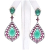 Silver Earring (Gold & Black Rhodium Plated) w/ White, Ruby & Green Agate Color CZ