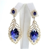 Silver Earring (Gold Plated) with Dark Tanzanite CZ
